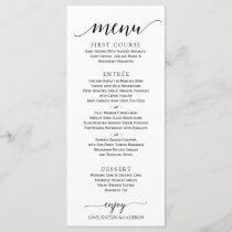 Romantic Calligraphy Wedding Menu | 4 x 9 | Black