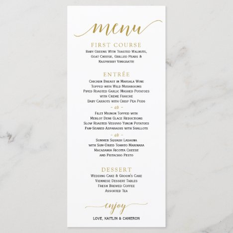 Romantic Calligraphy Wedding Menu | 4 x 9 | Gold