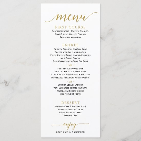Romantic Calligraphy Wedding Menu | 4 x 9 | Gold