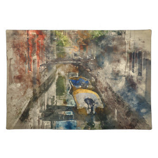Romantic Canals of Venice Italy Watercolor Placemat