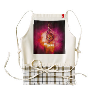 romantic candle zazzle HEART apron