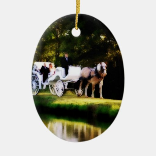 Romantic carriage horse wedding christmas tree ornaments for Engagement christmas tree ornaments