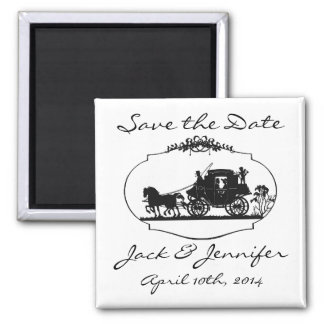 Romantic Carriage Silhouette - Save the Date 2 Inch Square Magnet