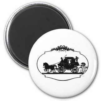 Romantic Carriage Sillhouette 2 Inch Round Magnet