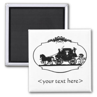Romantic Carriage Sillhouette 2 Inch Square Magnet