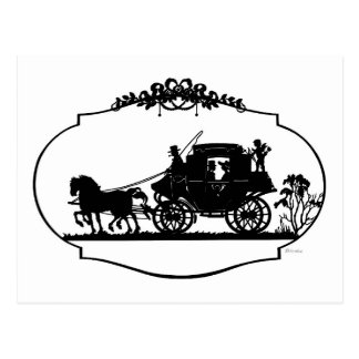 Romantic Carriage Sillhouette Post Card
