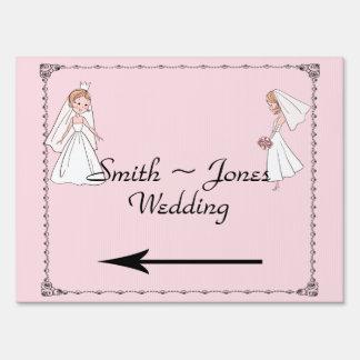 Romantic Cartoon Brides Wedding Direction Sign