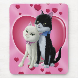 Romantic Cartoon cats on Valentine Heart Mouse Pad