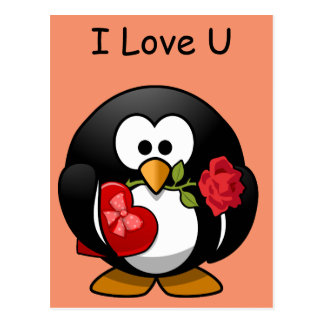 romantic cartoon penguin postcard