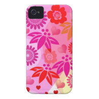 Romantic case with Hearts and Flowers iPhone 4 Cover