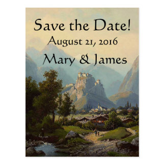 Romantic Castle Stream Alps Save the Date Postcard