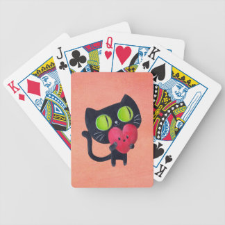 Romantic Cat hugging Red Cute Heart Bicycle Playing Cards