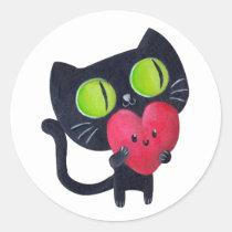 artsprojekt, cat, love, romance, valentine's day, cute cat, romantic cat, kawaii cat, kawaii, heart, cute, black cat, romantic, valentines, love gift, valentines day gift, love pet, children illustration, illustration, romantic gift, romantic present, cat gift, cat present, Sticker with custom graphic design