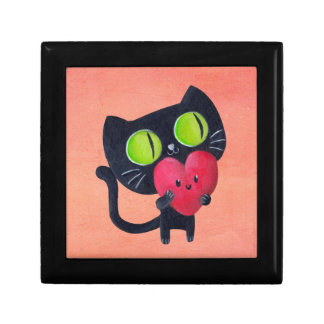 Romantic Cat hugging Red Cute Heart Gift Box