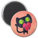 Romantic Cat hugging Red Cute Heart 2 Inch Round Magnet