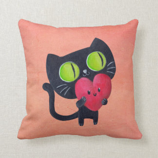 Romantic Cat hugging Red Cute Heart Pillows