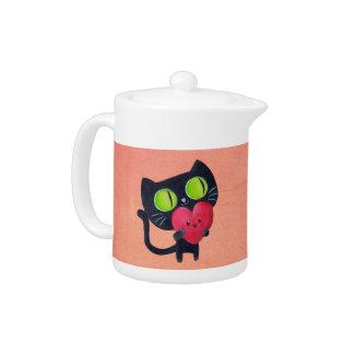 Romantic Cat hugging Red Cute Heart Teapot