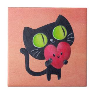 Romantic Cat hugging Red Cute Heart Tiles
