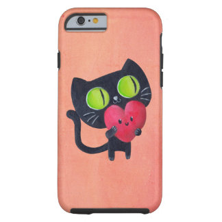 Romantic Cat hugging Red Cute Heart Tough iPhone 6 Case