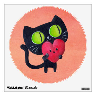 Romantic Cat hugging Red Cute Heart Wall Decal