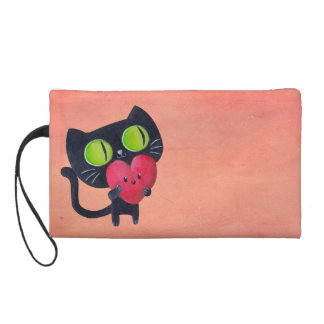 Romantic Cat hugging Red Cute Heart Wristlet