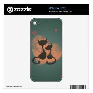 Romantic cats in love iPhone 4S decals