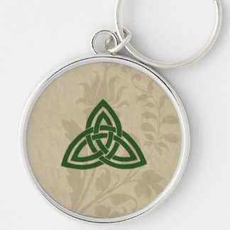 Romantic Celtic Triskel Silver-Colored Round Keychain