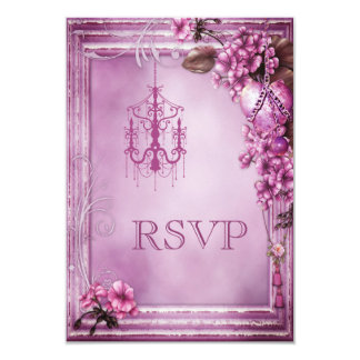 Romantic Chandelier, Heart & Flowers Wedding RSVP Card