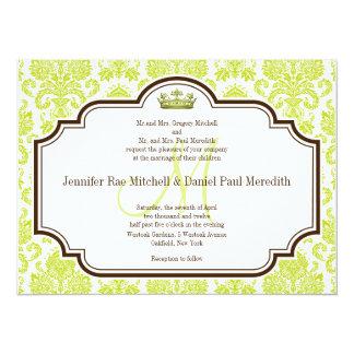 Romantic Chartreuse Damask Wedding Invitations