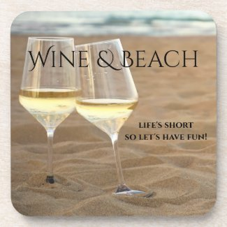 Romantic Cheers Beach and Wine Coasters