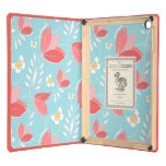 Romantic Chic Coral Retro Floral Pattern Turquoise Cover For iPad Air