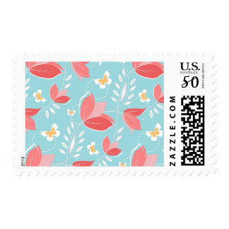 Romantic Chic Coral Retro Floral Pattern Turquoise Postage