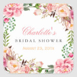 """Romantic Chic Floral Wreath Wedding Bridal Shower Square Sticker<br><div class=""""desc"""">================= ABOUT THIS DESIGN ================= Modern Pink Floral Wrapping Invitation Suite. (1) All text style, colors, sizes can be modified to fit your needs. (2) If you need any customization or matching items, please feel free to contact me. (In case you didn&#39;t get my response, please check the email SPAM...</div>"""