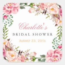 Romantic Chic Floral Wreath Wedding Bridal Shower Square Sticker