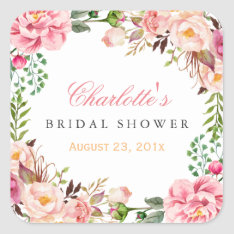 Romantic Chic Floral Wreath Wedding Bridal Shower Square Sticker at Zazzle