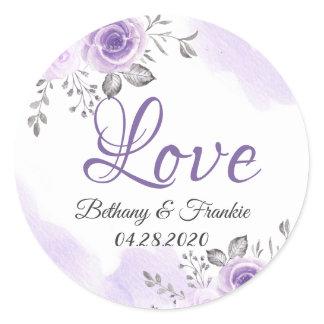 Romantic Chic Pastel Purple Floral Love Script Classic Round Sticker