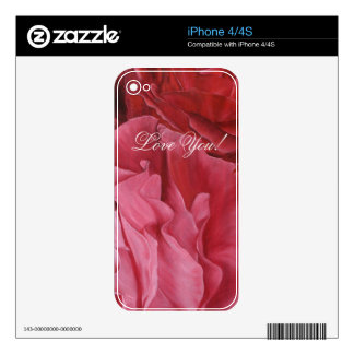 Romantic chic red love roses iPhone 4S skin