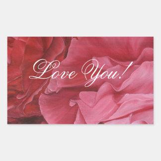 Romantic chic red love roses rectangular sticker