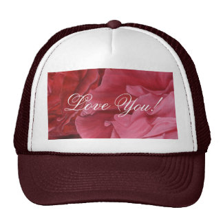 Romantic chic red love roses trucker hat