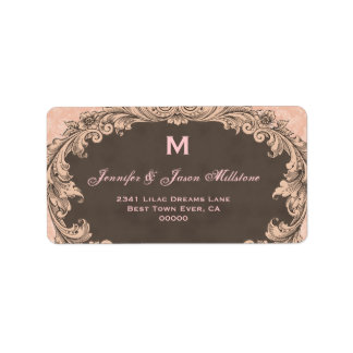 Romantic Chocolate and Pink Vintage Monogram Label