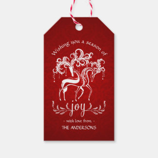 Romantic Christmas Reindeer Joy - Red White Damask Pack Of Gift Tags