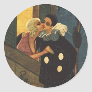 Romantic Clown Kissing Lover Classic Round Sticker