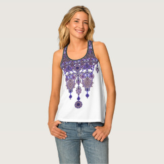 Romantic colored ornament boho-necklace tank top