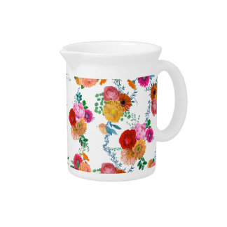 Romantic Colorful Watercolors Spring Flowers Drink Pitcher