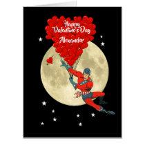 Romantic comic super hero  Valentines day Card