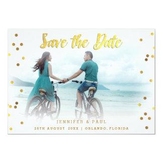 Romantic Confetti Save The Date Wedding Photo Card