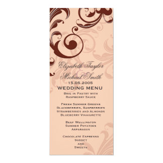 Romantic Coral Decorative Swirls Wedding Menu Card