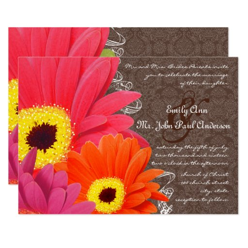Romantic Coral & Fuchsia Gerber Daisy Wedding Card Zazzle