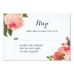 Romantic Coral Peonie on Navy RSVP Cards