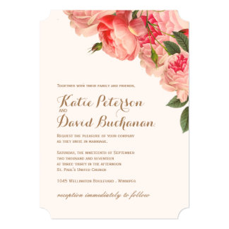 Romantic Coral Peonies On Gold Wedding Invitation